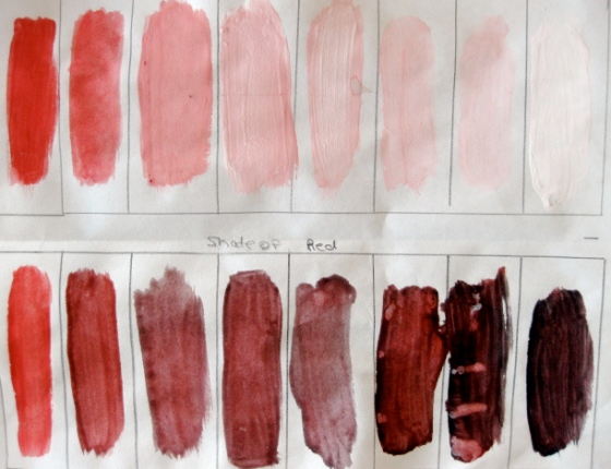 Sample of tints and shades of red