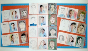 Progressive self portraits in grade two