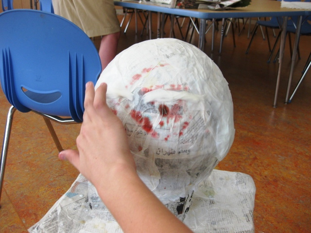 Self portrait busts in grade 6 art lessons for kids for Paper mache objects