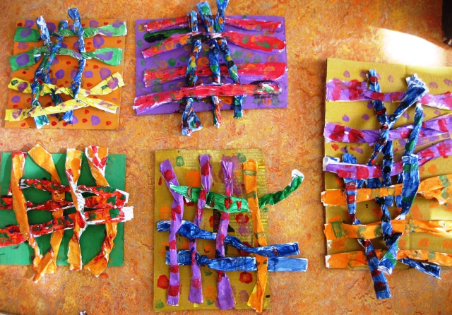Recycled paper weaving in grade two art lessons for kids for 3d art sculpture ideas