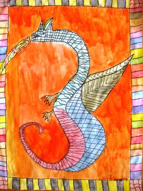 watercolor dragons in grade four