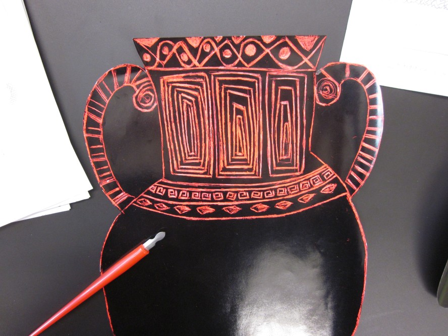 scratch art greek vases
