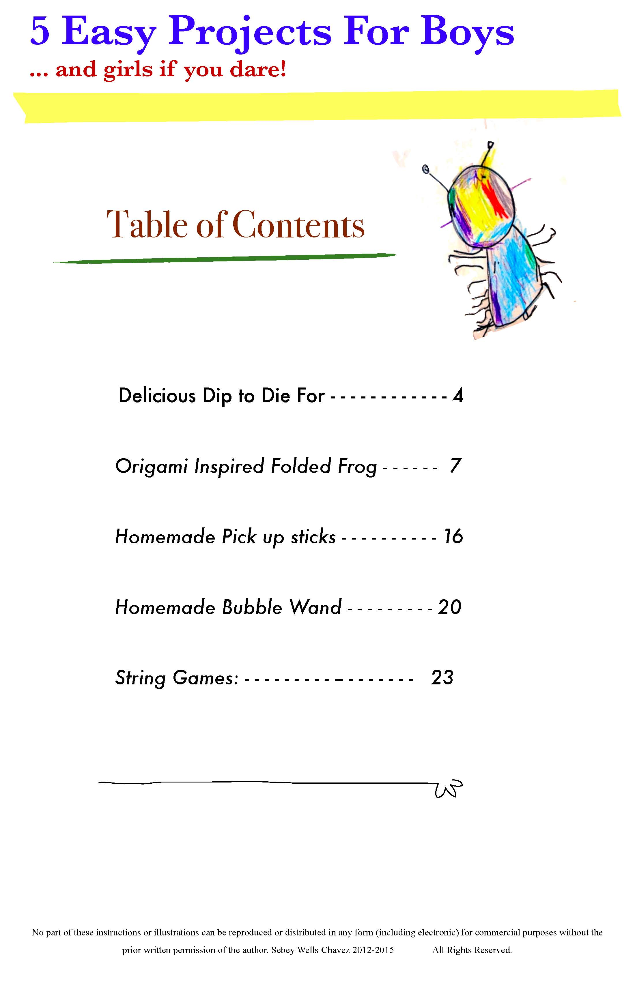 Just for kids art lessons for kids for Cookbook table of contents template